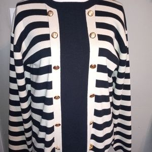 Horchow Sweater  Black and Cream